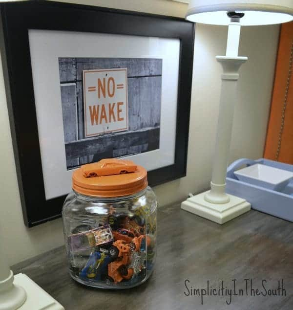 Boy's shared bedroom by Simplicity In The South. Hot wheels jar.