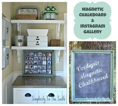 This is a 2-in-one tutorial. First, I show how to make a chalkboard magnetic picture frame with a faux verdigris finish and then I show how to display Instagram pictures on it
