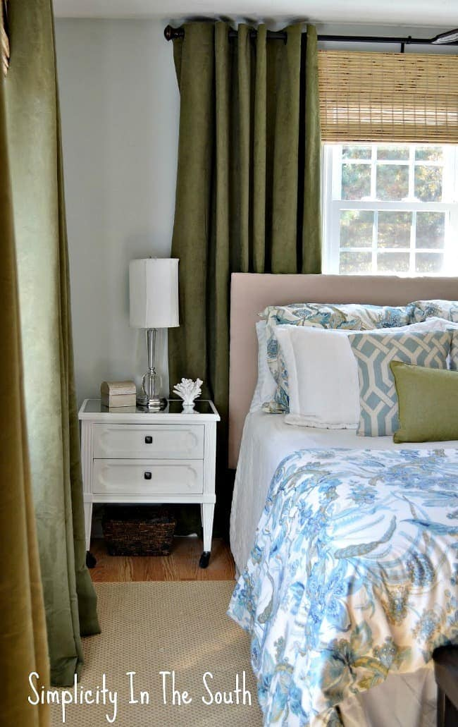 master bedroom in blues and greens
