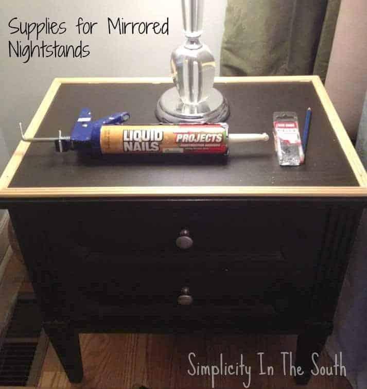 supplies needed to mirror the tops of nightstands