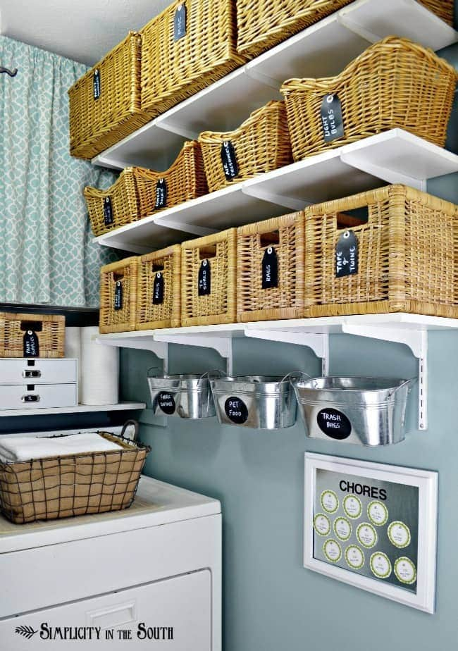 Love this! Organized laundry room
