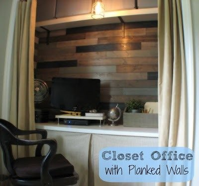 closet office with planked walls