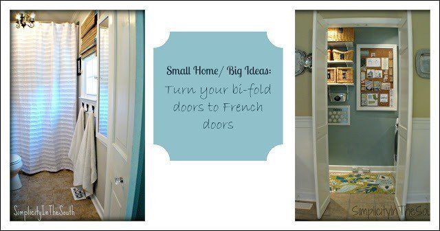 {small Home/ BIG Ideas} Turn A Bifold Door Into a French Style Door