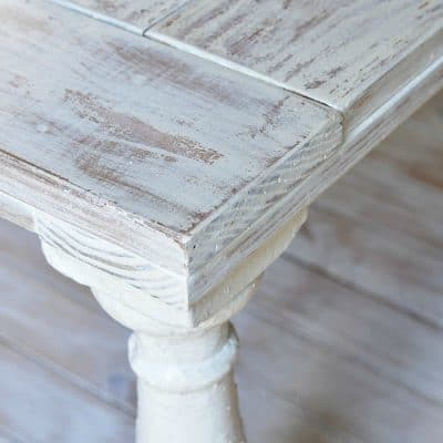 How to distress wood with Miss Mustard Seed milk paint and wet rag sanding