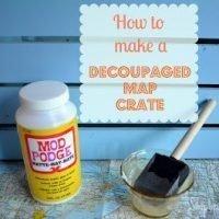 Decoupaged Map Crate {Mod Podge Madness}