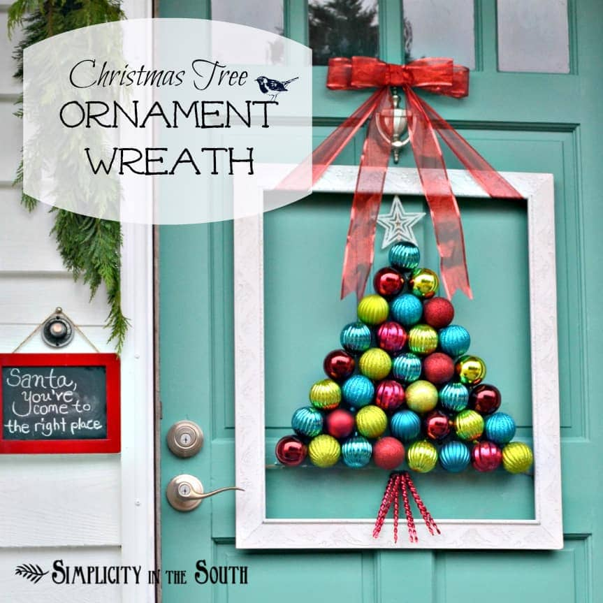 {I've been} Framed Christmas Tree Ornament Wreath