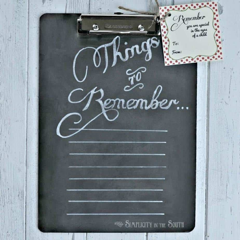 An easy to make teachers appreciation gift that can be used all year long, a chalkboard to do list. The writing is done with a white marker, so it resembles the look of chalk but stays put when the chalkboard is wiped off.