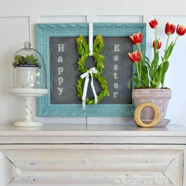 Easter vignette with a boxwood bunny wreath