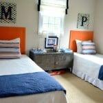 shared boys room ideas using navy and orange