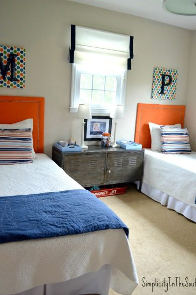 shared boys room ideas using navy and orange