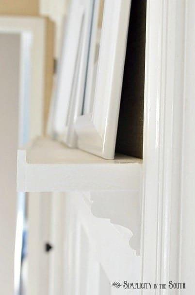 Side profile of DIY gallery shelf