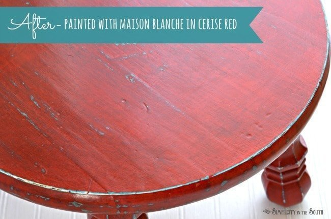 Maison Blanche La Craie Cerise Red over turquoise spray paint