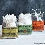 DIY Decoupaged Vintage Apothecary Glass Jars
