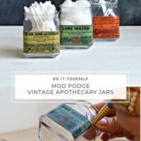 DIY Mod Podge / Decoupaged Vintage Apothecary Glass Jars