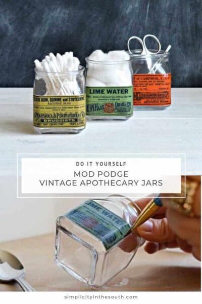 diy mod podge decoupage vintage apothecary jars (1)