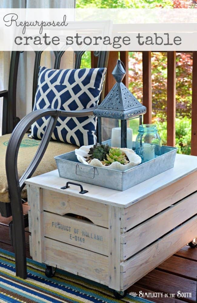 DIY wooden crate storage table. Repurpose a wooden crate into a rolling side table for the porch or even as living room furniture. Just add a lid, a handle, caster wheels and some paint.