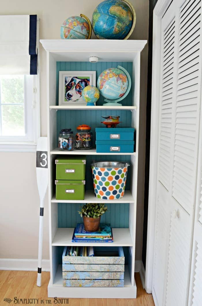 Kids room beadboard backed bookcase