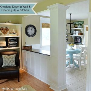See the dramatic difference you can make by opening up a kitchen to a living room by knocking down a load bearing wall in an outdated 80's ranch home.