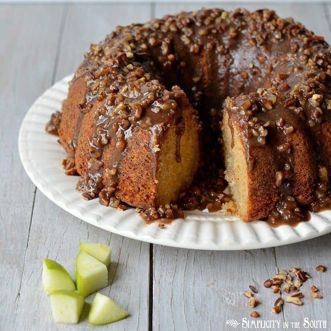 Amazing Apple Dapple Cake with a Caramel-Pecan Glaze