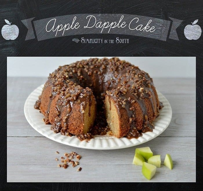 Apple Dapple Cake with a caramel-pecan glaze. Bundt cake recipe by Simplicity in the South