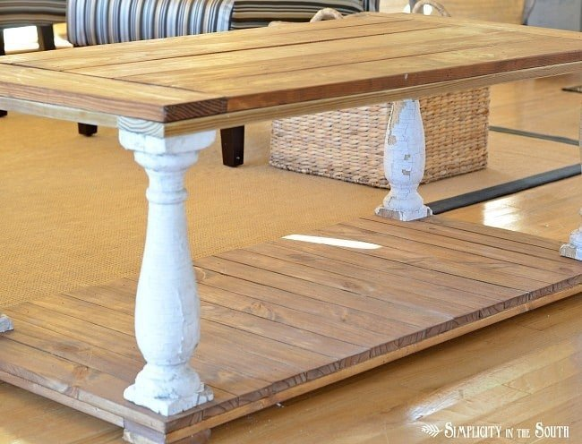 Before painting- Restoration Hardware inspired baluster coffee table