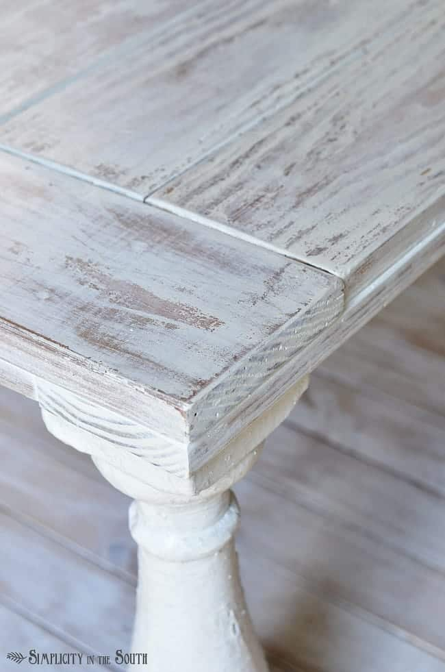 Distressed Coffee Table Painted With Mms Milk Paint In Grain Sack And A Wet