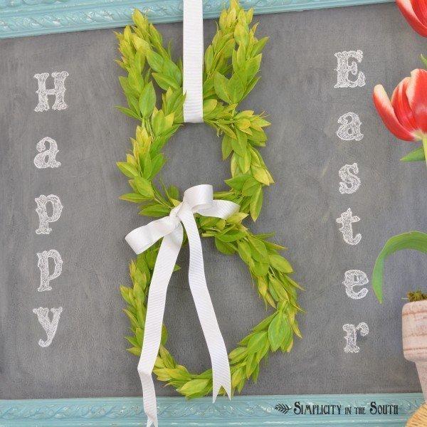 Bunny boxwood wreath