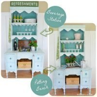Repurpose a Hutch and Desk Into A Double-Duty Potting Bench and Beverage Station