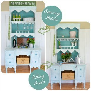 Convertible patio furniture- beverage station to potting bench