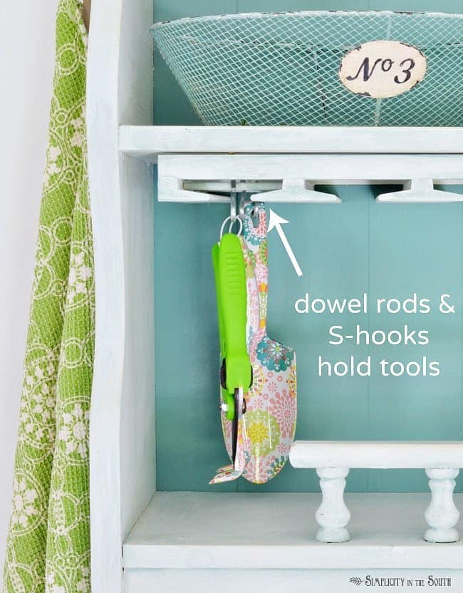 Dowel rods and s-hooks hold tools