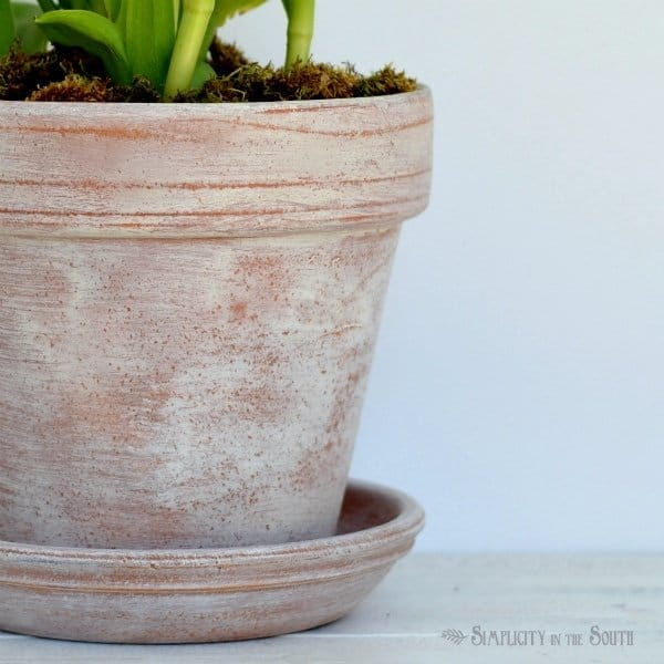 how to age terra cotta pots with chalk paint and wax