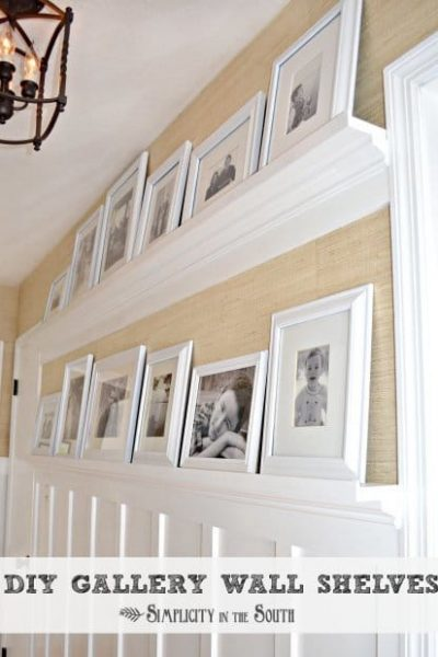 DIY gallery wall shelves