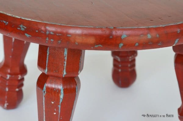 Distressed Step Stool Using Maison Blanche Paint in Cerise