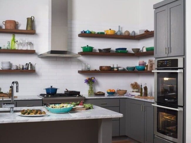 Electrolux-Suite-Design-Kitchen-grey-cabinets-open-shelving