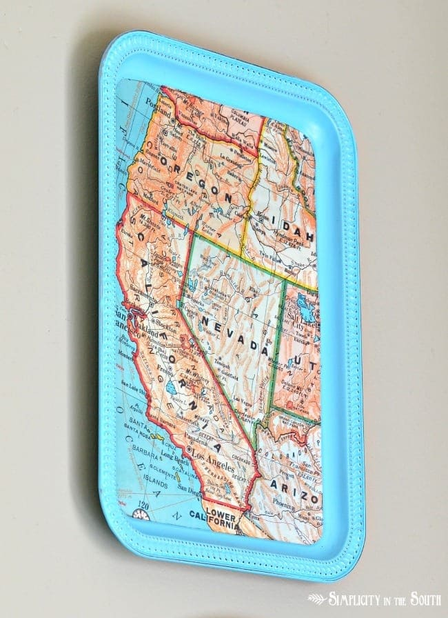 How To Make a DIY Dollar Tree Magnetic Map Memo Board Tray - Home Decor Organization Craft Tutorial: West coast California Oregon map tray