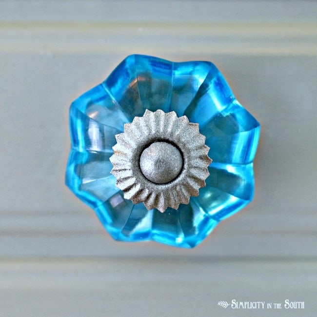 blue glass knob detail