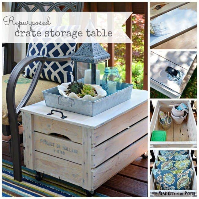 DIY wooden crate storage table. Repurpose a wooden crate into a rolling side table for the porch or even the living room. Just add a lid, a handle, caster wheels and some paint.