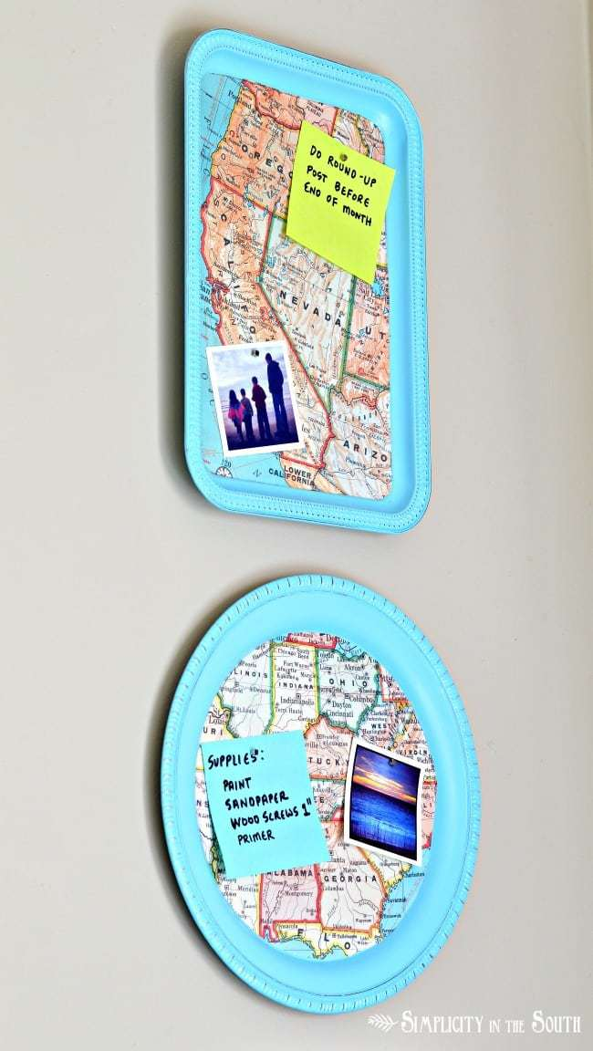 magnetic map trays made from Dollar Tree trays