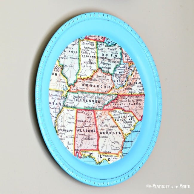 How To Make a DIY Dollar Tree Magnetic Map Memo Board Tray - Home Decor Organization Craft Tutorial: Southern Southeast states map tray