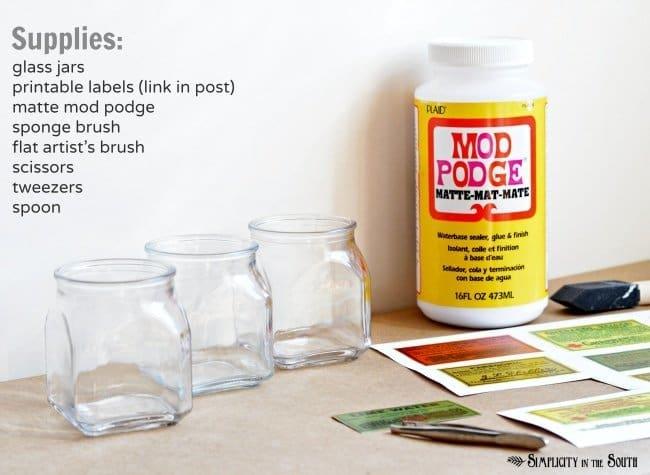 supplies for decoupaged vintage label jars
