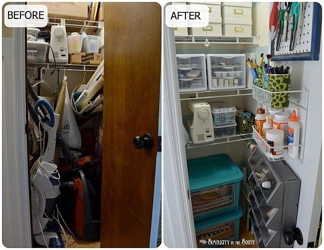 Before after craft closet organization