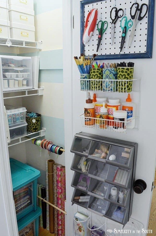 Pretty and everything in it's place! Organization tips for a craft closet