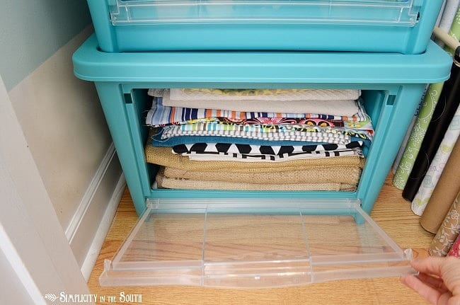 Fabric storage with Rubbermaid's All Access Organizers.Craft closet organization tips: Part of the small home, big ideas series, find out how to organize your craft supplies