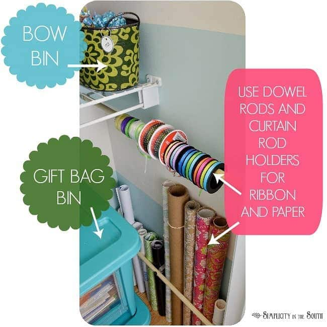 Gift wrap storage ideas to keep your craft closet organized. Use dowel rods and curtain rod holders for ribbon and wrapping paper.Craft closet organization tips: Part of the small home, big ideas series, find out how to organize your craft supplies