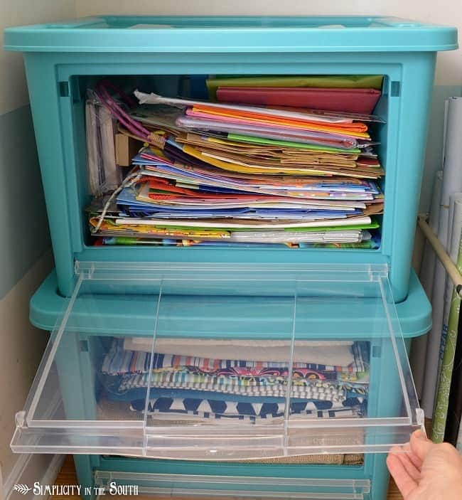 Rubbermaid All Access Organizers for gift bag storage.Craft closet organization tips: Part of the small home, big ideas series, find out how to organize your craft supplies