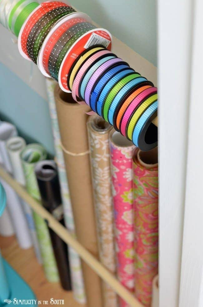 Use dowel rods and curtain rod brackets for wrapping supplies.Craft closet organization tips: Part of the small home, big ideas series, find out how to organize your craft supplies