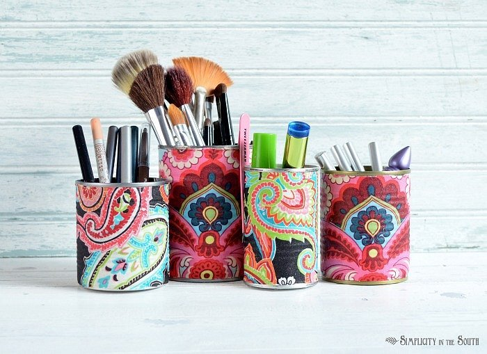 Easy Makeup Organization Using Fabric-Covered Tin Cans