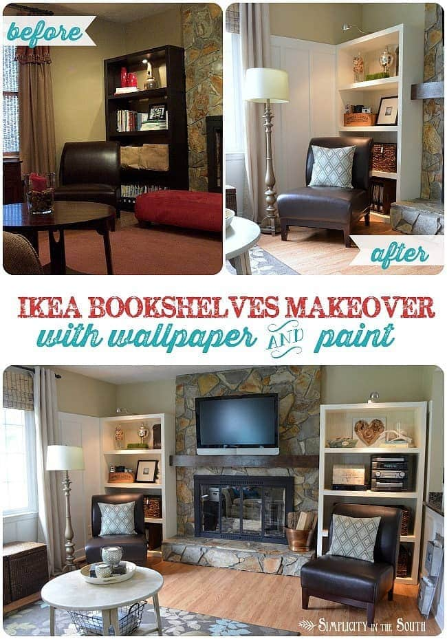 Ikea Bookshelves Makeover with Wallpaper and Paint