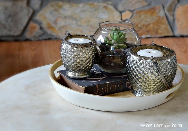 Mercury hobnail candle holders and succulents