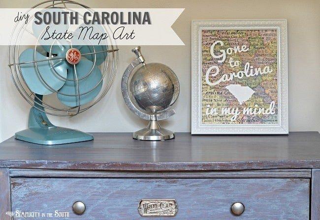 DIY South Carolina map art - Gone to Carolina in my mind